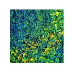 Flowers Abstract Yellow Green Small Satin Scarf (square)