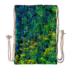 Flowers Abstract Yellow Green Drawstring Bag (Large)