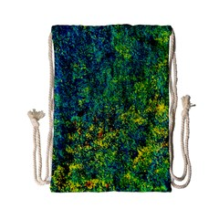 Flowers Abstract Yellow Green Drawstring Bag (small)