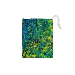 Flowers Abstract Yellow Green Drawstring Pouches (XS)