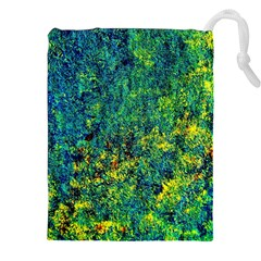 Flowers Abstract Yellow Green Drawstring Pouches (XXL)