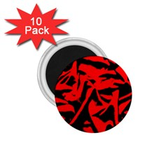 Red Black Retro Pattern 1.75  Magnets (10 pack)