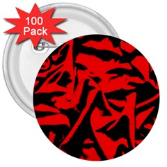 Red Black Retro Pattern 3  Buttons (100 pack)
