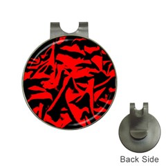 Red Black Retro Pattern Hat Clips with Golf Markers