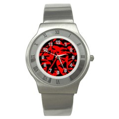 Red Black Retro Pattern Stainless Steel Watches