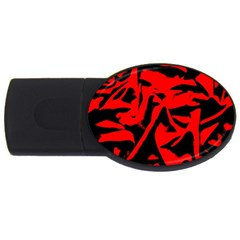 Red Black Retro Pattern USB Flash Drive Oval (4 GB)