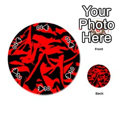 Red Black Retro Pattern Playing Cards 54 (Round)