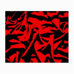 Red Black Retro Pattern Small Glasses Cloth (2-Side)