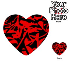 Red Black Retro Pattern Multi Purpose Cards (heart)