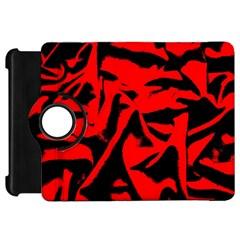 Red Black Retro Pattern Kindle Fire HD Flip 360 Case