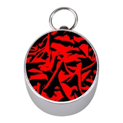 Red Black Retro Pattern Mini Silver Compasses