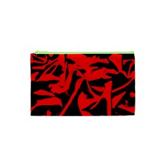 Red Black Retro Pattern Cosmetic Bag (XS)