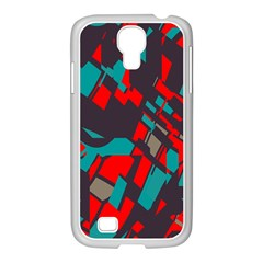 Red blue piecesSamsung GALAXY S4 I9500/ I9505 Case (White)