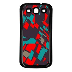 Red blue pieces			Samsung Galaxy S3 Back Case (Black)