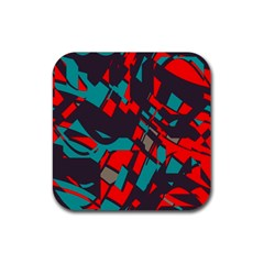 Red blue pieces			Rubber Square Coaster (4 pack