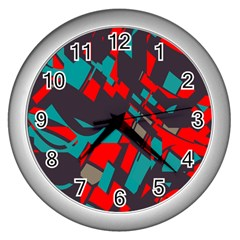 Red blue piecesWall Clock (Silver)