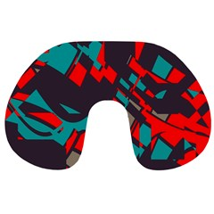 Red blue pieces Travel Neck Pillow