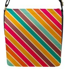 Colorful diagonal stripesFlap Closure Messenger Bag (S)