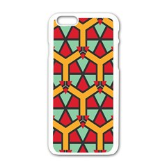 Honeycombs triangles and other shapes patternApple iPhone 6/6S White Enamel Case