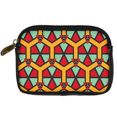 Honeycombs triangles and other shapes pattern Digital Camera Leather Case