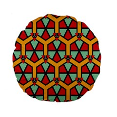 Honeycombs triangles and other shapes pattern Standard 15  Premium Flano Round Cushion