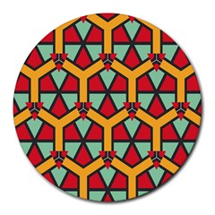 Honeycombs triangles and other shapes patternRound Mousepad