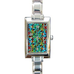 Turquoise Blue Green  Painting Pattern Rectangle Italian Charm Watches
