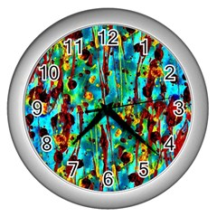 Turquoise Blue Green  Painting Pattern Wall Clocks (Silver)