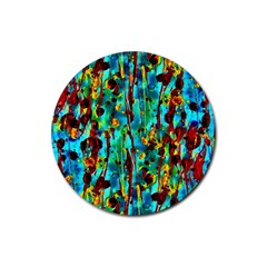 Turquoise Blue Green  Painting Pattern Rubber Round Coaster (4 pack)