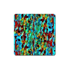 Turquoise Blue Green  Painting Pattern Square Magnet