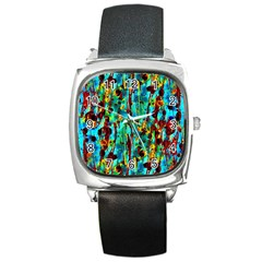 Turquoise Blue Green  Painting Pattern Square Metal Watches