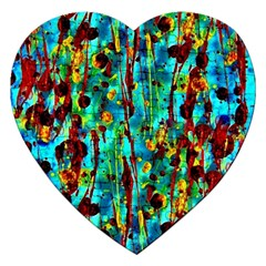 Turquoise Blue Green  Painting Pattern Jigsaw Puzzle (Heart)