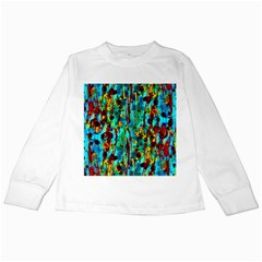 Turquoise Blue Green  Painting Pattern Kids Long Sleeve T-Shirts