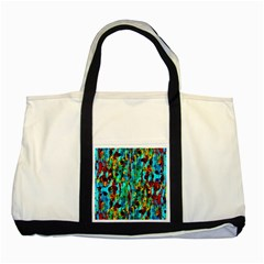 Turquoise Blue Green  Painting Pattern Two Tone Tote Bag