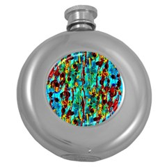 Turquoise Blue Green  Painting Pattern Round Hip Flask (5 oz)