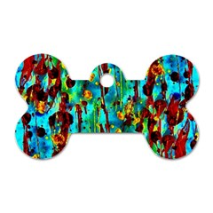 Turquoise Blue Green  Painting Pattern Dog Tag Bone (One Side)