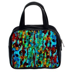 Turquoise Blue Green  Painting Pattern Classic Handbags (2 Sides)