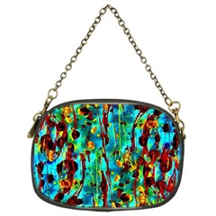 Turquoise Blue Green  Painting Pattern Chain Purses (Two Sides)