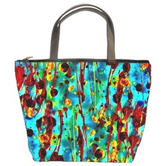 Turquoise Blue Green  Painting Pattern Bucket Bags