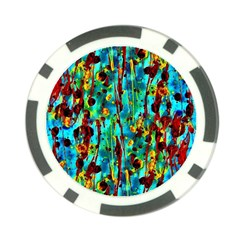 Turquoise Blue Green  Painting Pattern Poker Chip Card Guards (10 pack)