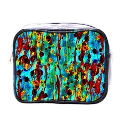 Turquoise Blue Green  Painting Pattern Mini Toiletries Bags