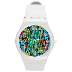 Turquoise Blue Green  Painting Pattern Round Plastic Sport Watch (M)