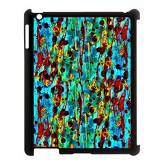 Turquoise Blue Green  Painting Pattern Apple iPad 3/4 Case (Black)