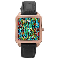Turquoise Blue Green  Painting Pattern Rose Gold Watches