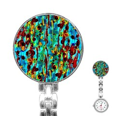 Turquoise Blue Green  Painting Pattern Stainless Steel Nurses Watches