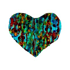 Turquoise Blue Green  Painting Pattern Standard 16  Premium Flano Heart Shape Cushions
