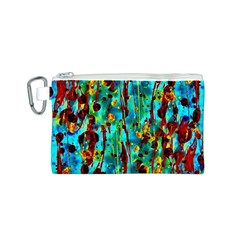 Turquoise Blue Green  Painting Pattern Canvas Cosmetic Bag (S)