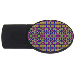 Ethnic Modern Geometric Pattern USB Flash Drive Oval (1 GB)