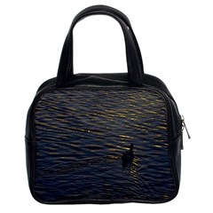 Lonely Duck Swimming At Lake At Sunset Time Classic Handbags (2 Sides)