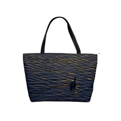 Lonely Duck Swimming At Lake At Sunset Time Shoulder Handbags